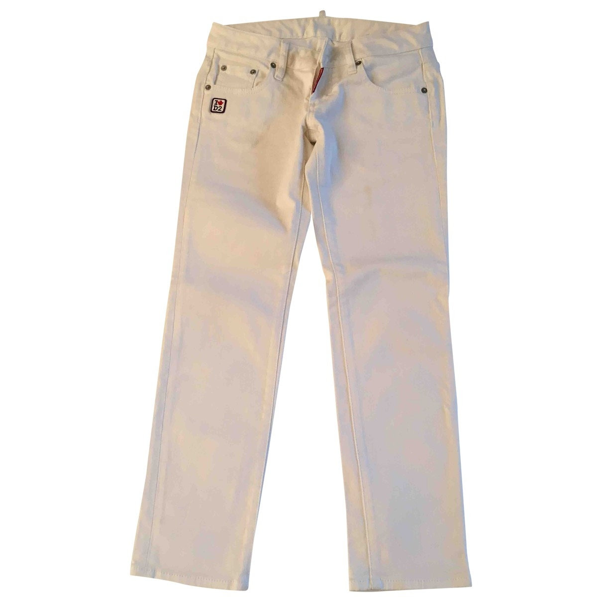 Dsquared2 \N White Cotton Trousers for Women 40 IT