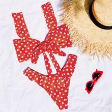 Bikini Badeanzug mit Punkten muster, Raffung und Knoten vorn