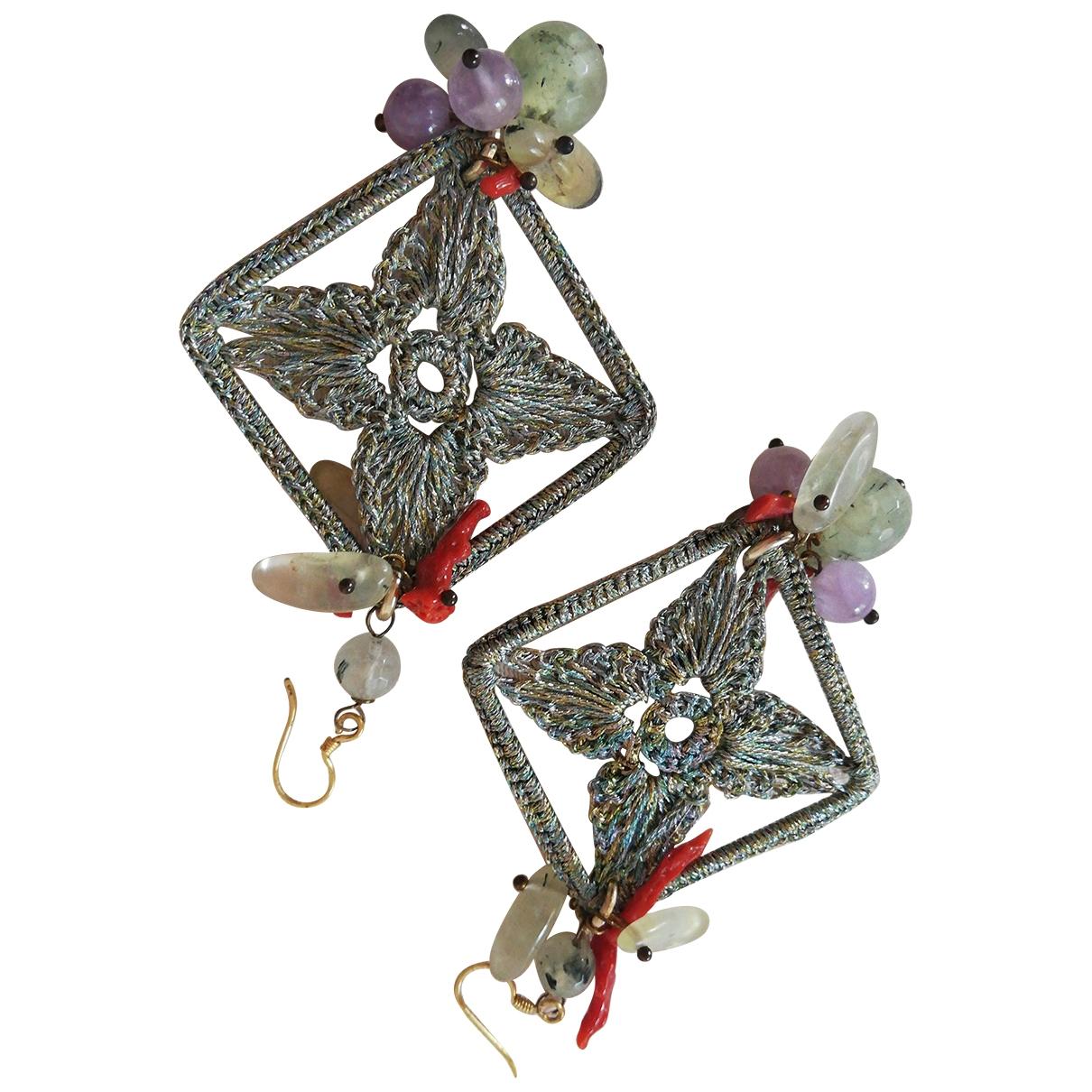 - Boucles doreilles   pour femme en toile - metallise