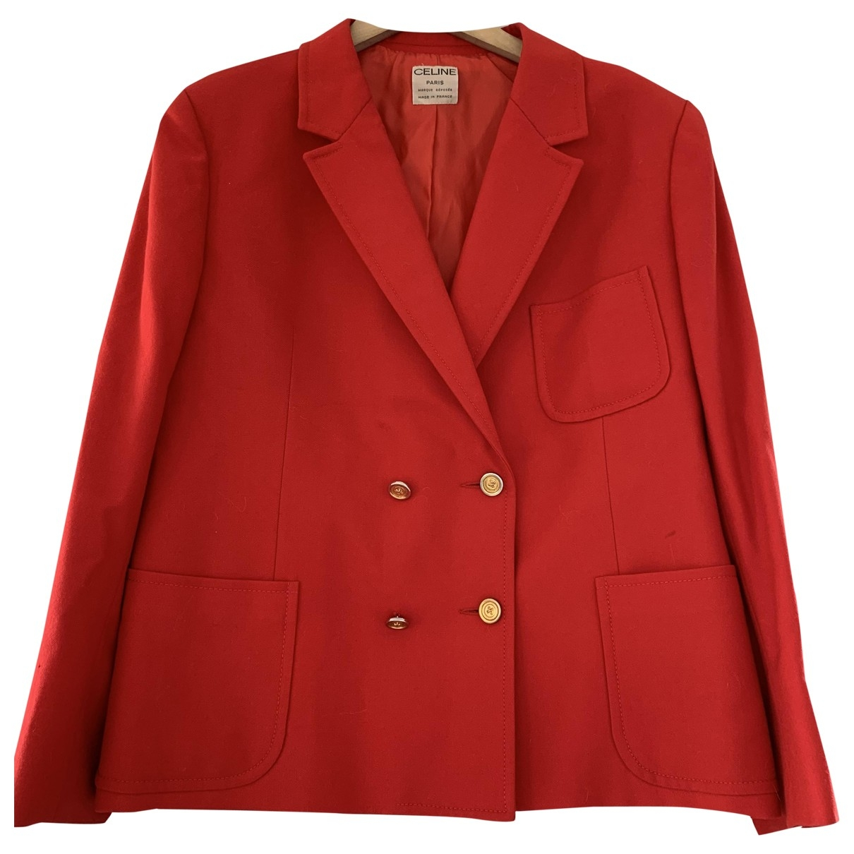 Celine - Veste   pour femme en laine - rouge