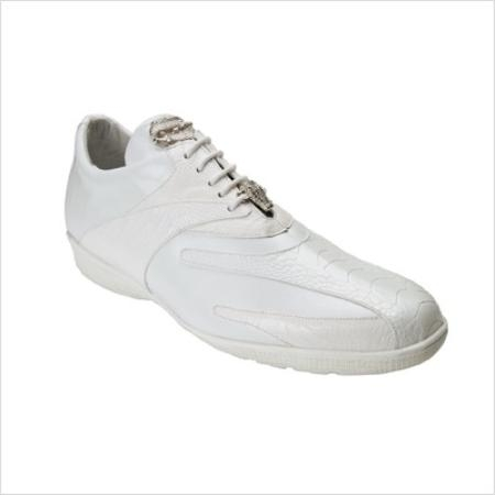 Belvedere Genuine Ostrich and Calfskin / Mens Bene Sneakers in White