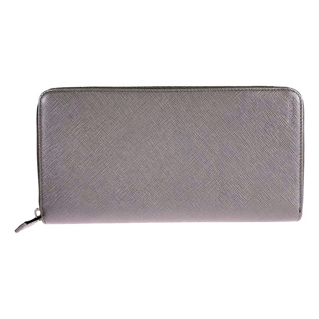 Prada \N Grey Leather Small bag, wallet & cases for Men \N