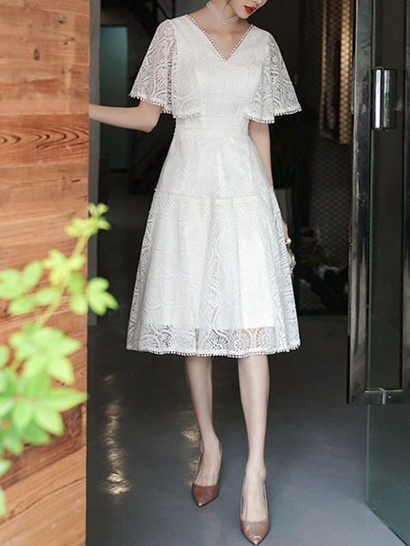 Milanoo Women\'s Cocktail Dress Beautiful A-Line Knee-Length V-Neck Lace