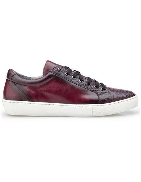Mens Lace Up Ostrich Burgundy Shoe
