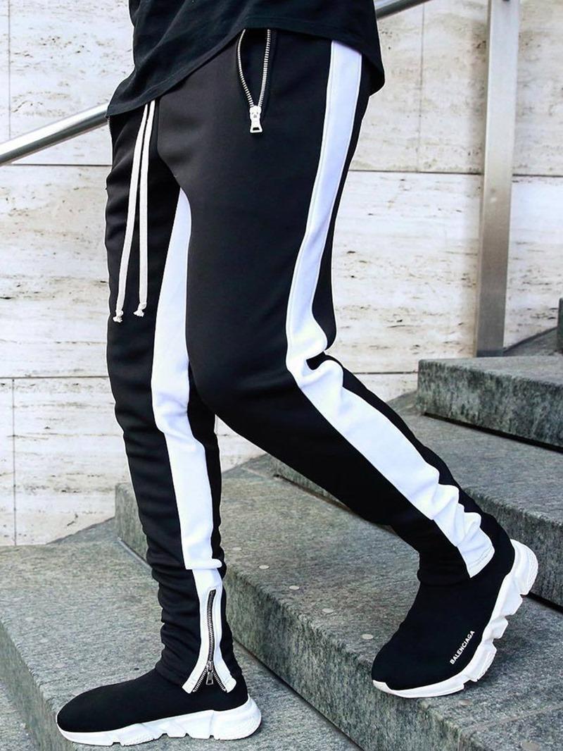 Ericdress Stripe Patchwork Pencil Pants Lace-Up Mid Waist Men's Casual Pants