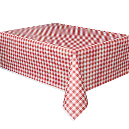 Party Plastic Table Cover Roll Red White Gingham 40