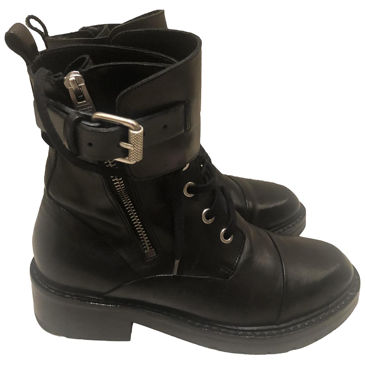 All Saints - Boots   pour femme en cuir - noir