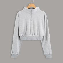 Crop Sweatshirt mit Stehkragen und halbem Reissverschluss