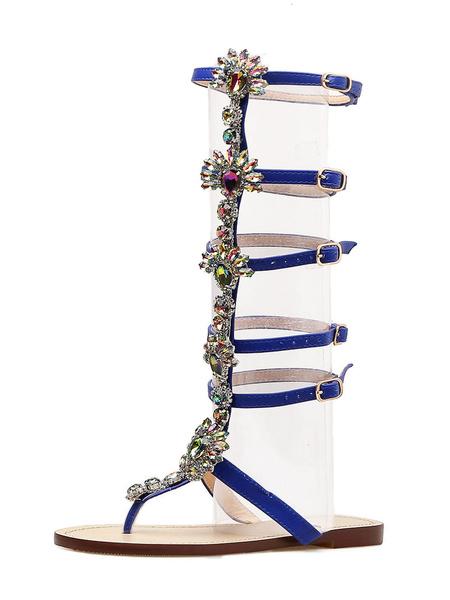 Milanoo Women Gladiator Sandals Boho Flat Sandals Thong Rhinestones Buckle Detail Sandal Shoes