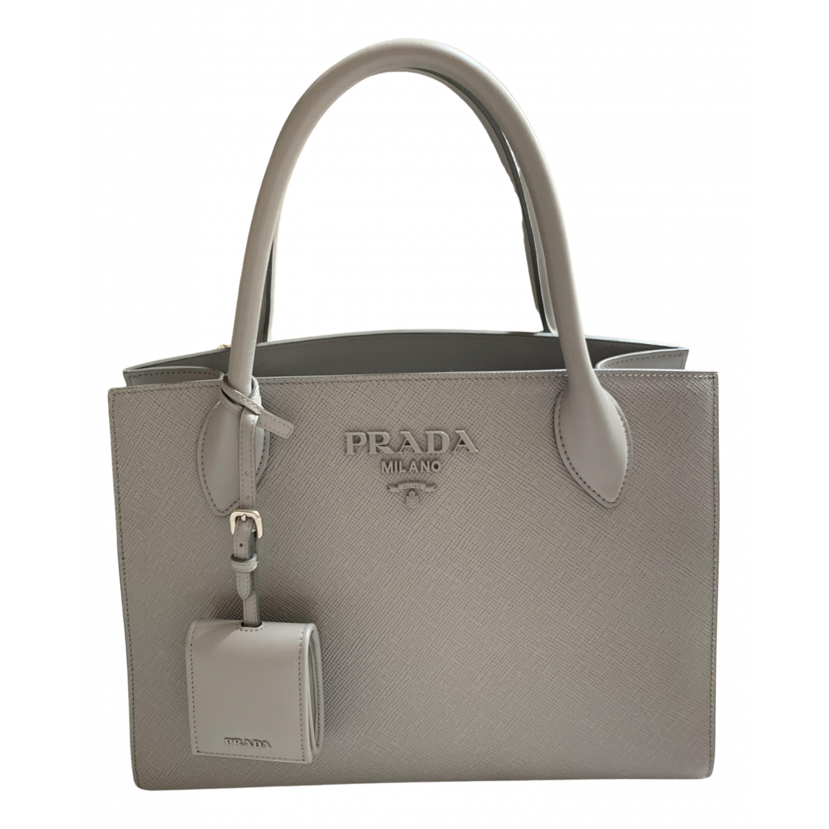 Prada Monochrome Grey Leather handbag for Women N