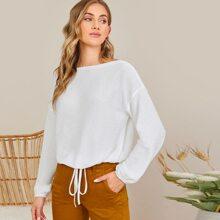 Pullover mit sehr tief angesetzter Schulterpartie und Kordelzug am Saum