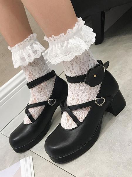 Milanoo Classic Lolita Shoes Strappy Flower Platform White Chunky Heel Lolita Footwear