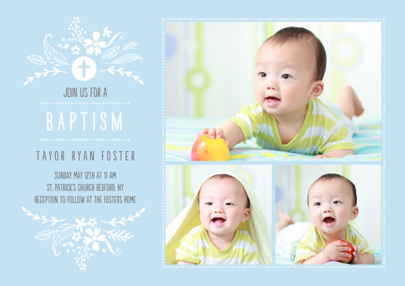 Baptism Invitations Flat Glossy Photo Paper Cards with Envelopes, 5x7, Card & Stationery -Baptism Foliage Arch