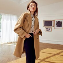 Double Button Raglan Sleeve Overcoat