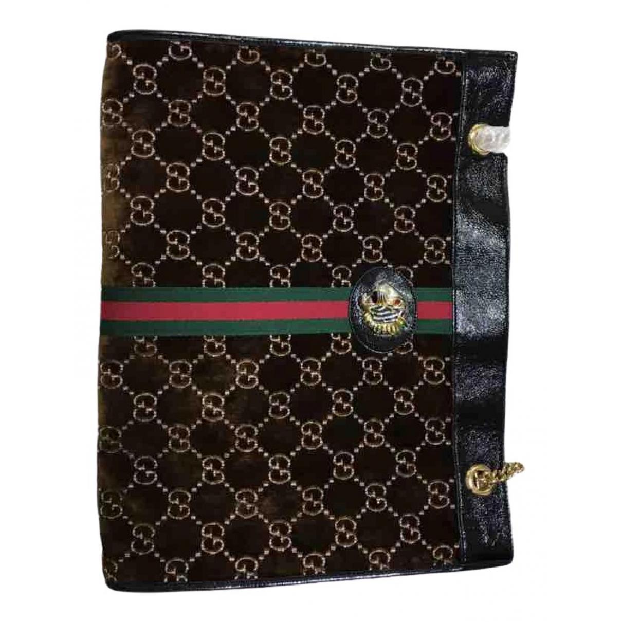 Gucci Rajah Handtasche in  Braun Samt