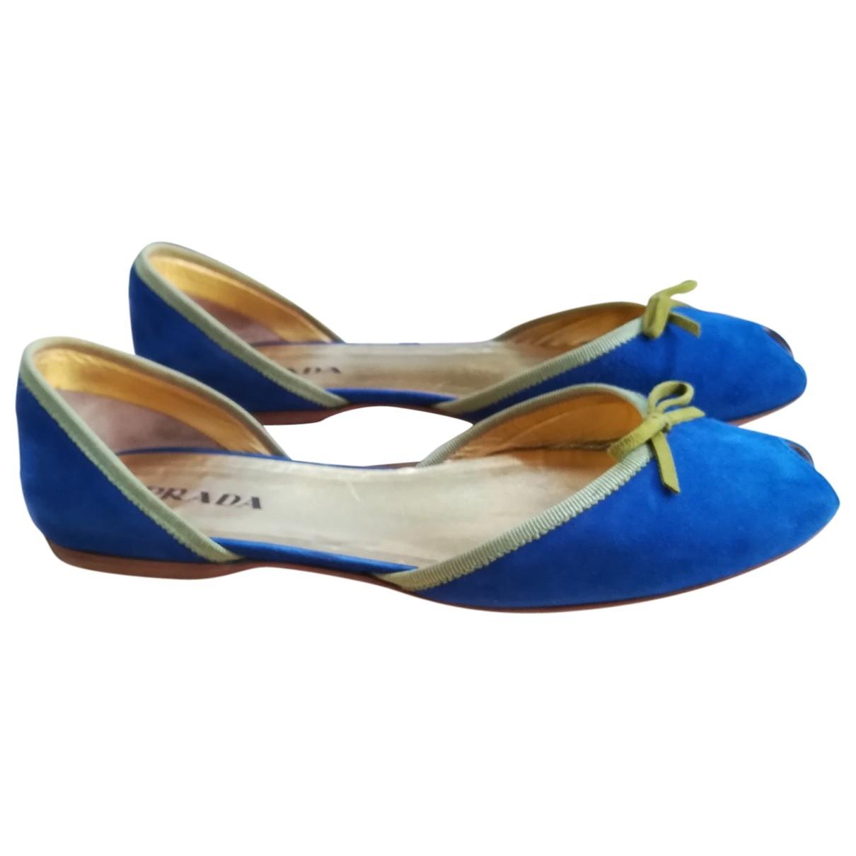 Prada - Ballerines   pour femme en suede - bleu