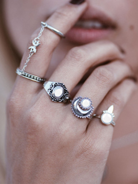 Yoins Silver Moon Crystal Five-piece Ring Set