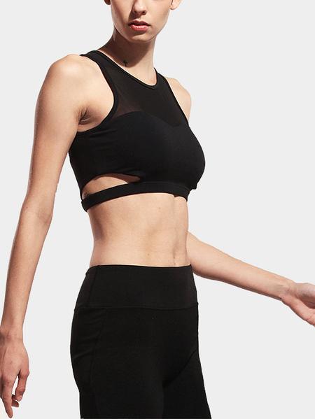Yoins Black Mesh-designed Sports Bra