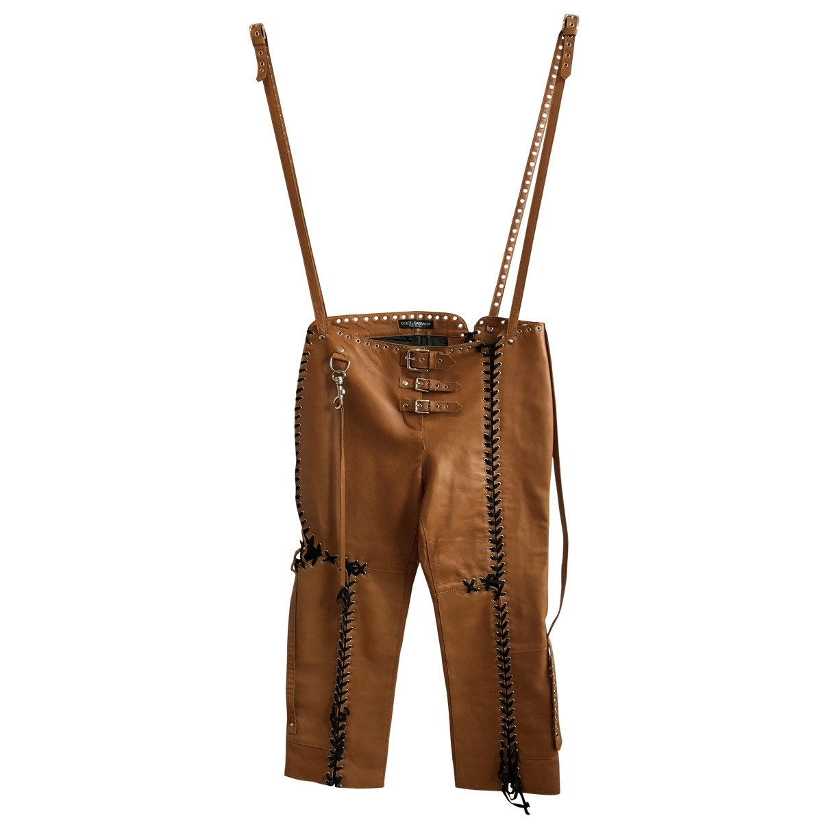 Dolce & Gabbana \N Brown Leather Trousers for Women 42 IT