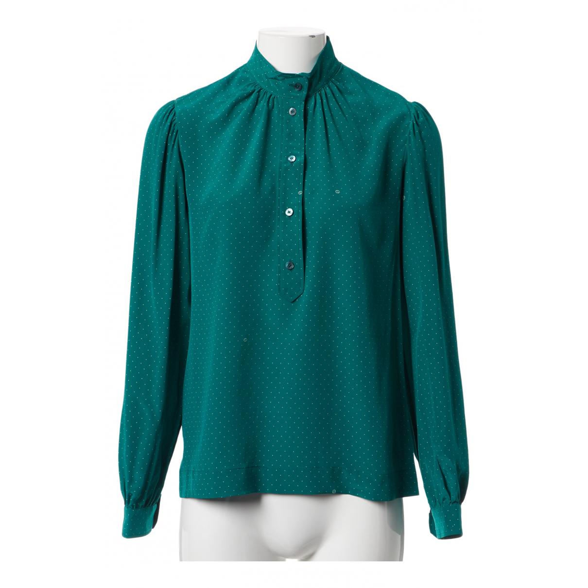 Gucci - Top   pour femme en soie - turquoise
