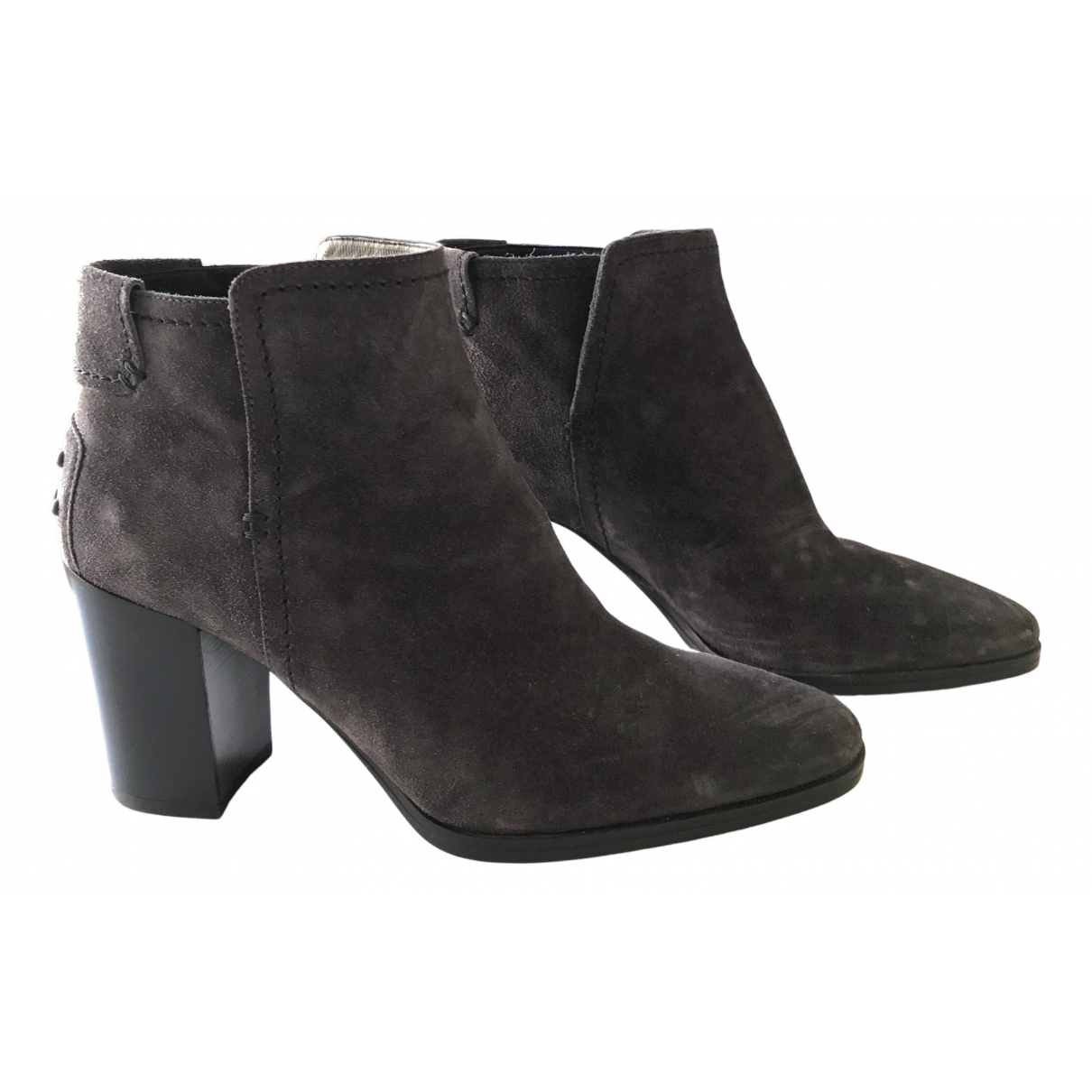 Tod's \N Grey Suede Ankle boots for Women 38.5 EU