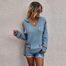 Pullover mit Streifen Muster, Kaenguru Taschen, Kordelzug und Kapuze