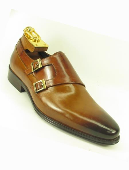 Men's Slip On Fashionable Side Double Buckle Style Cognac Loafer