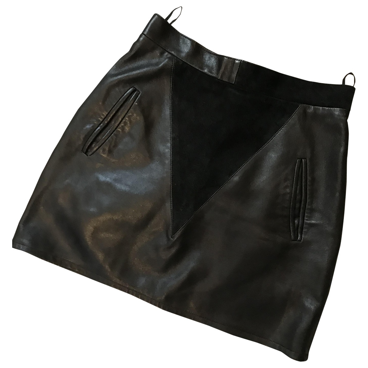 Non Signé / Unsigned \N Black Leather skirt for Women 36 FR