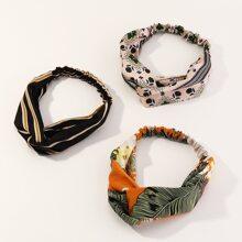 3 Stuecke Stirnband mit Blumen Muster