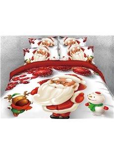 Santa Reindeer and Snowman Printed 4-Piece 3D Christmas Bedding Sets/Duvet Covers