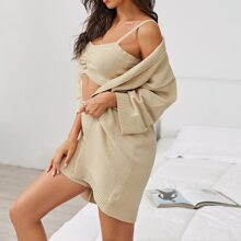 Solid Crop Knit Cami Top and Shorts Set With Sweater Coat