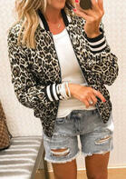 Leopard Striped Zipper Jacket Coat
