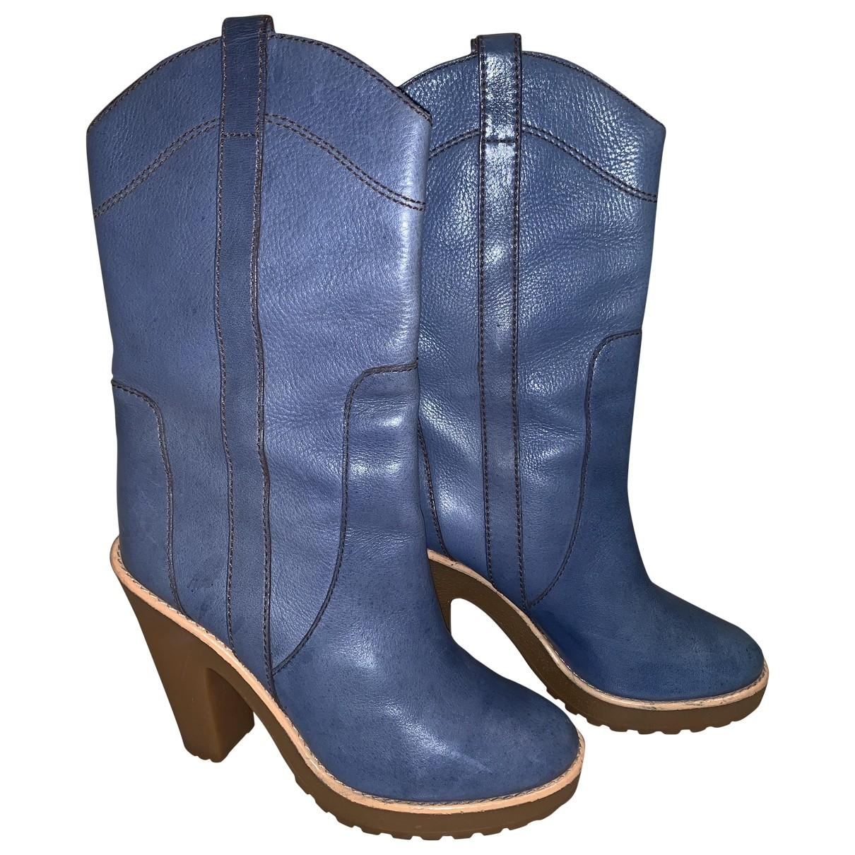 Marc Jacobs - Bottes   pour femme en cuir - bleu