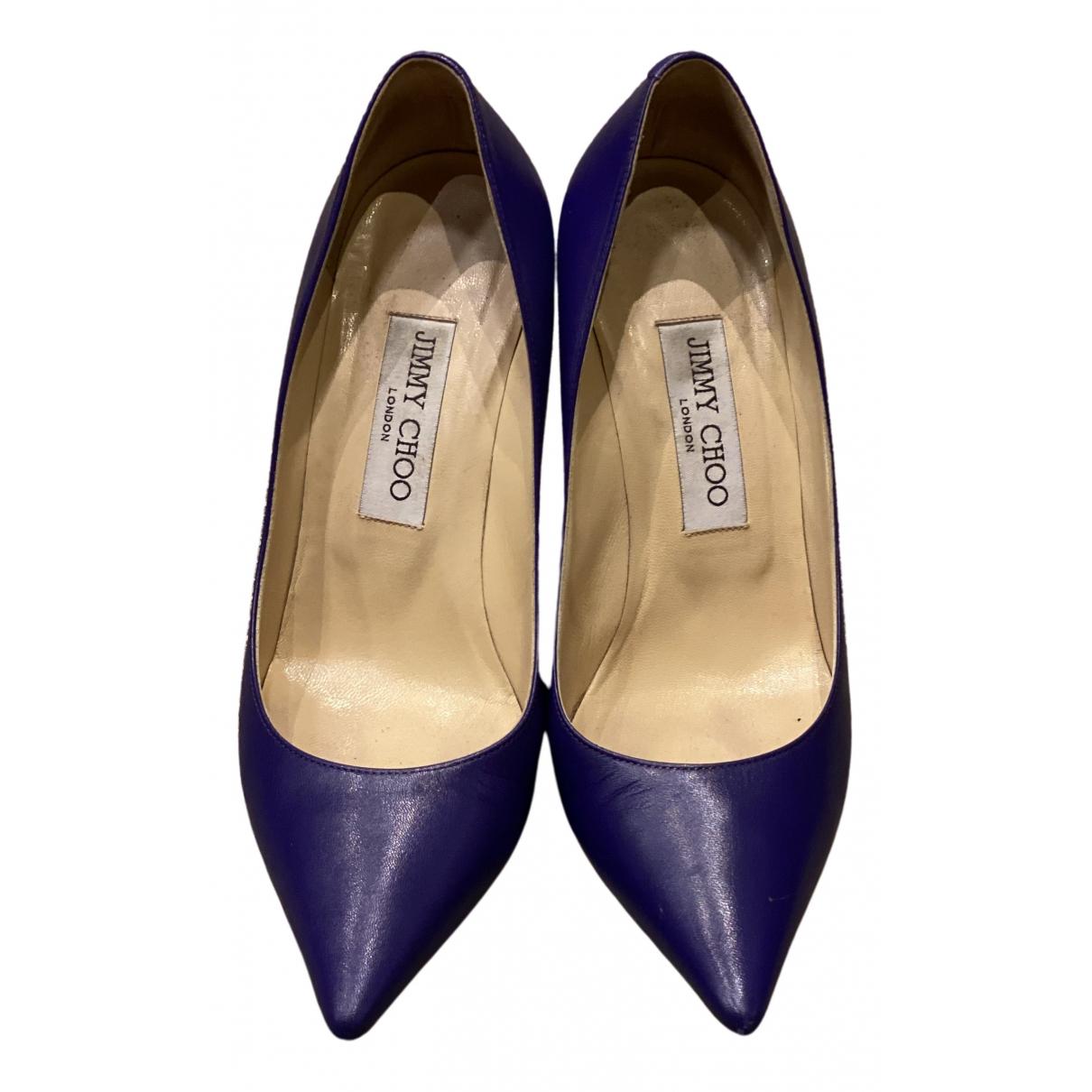 Jimmy Choo Anouk Purple Leather Heels for Women 37 EU