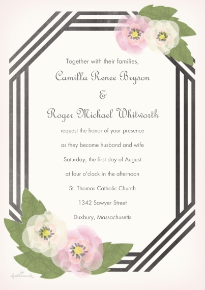 Wedding Invitations 5x7 Cards, Premium Cardstock 120lb, Card & Stationery -Black & White Ribbon Invitation