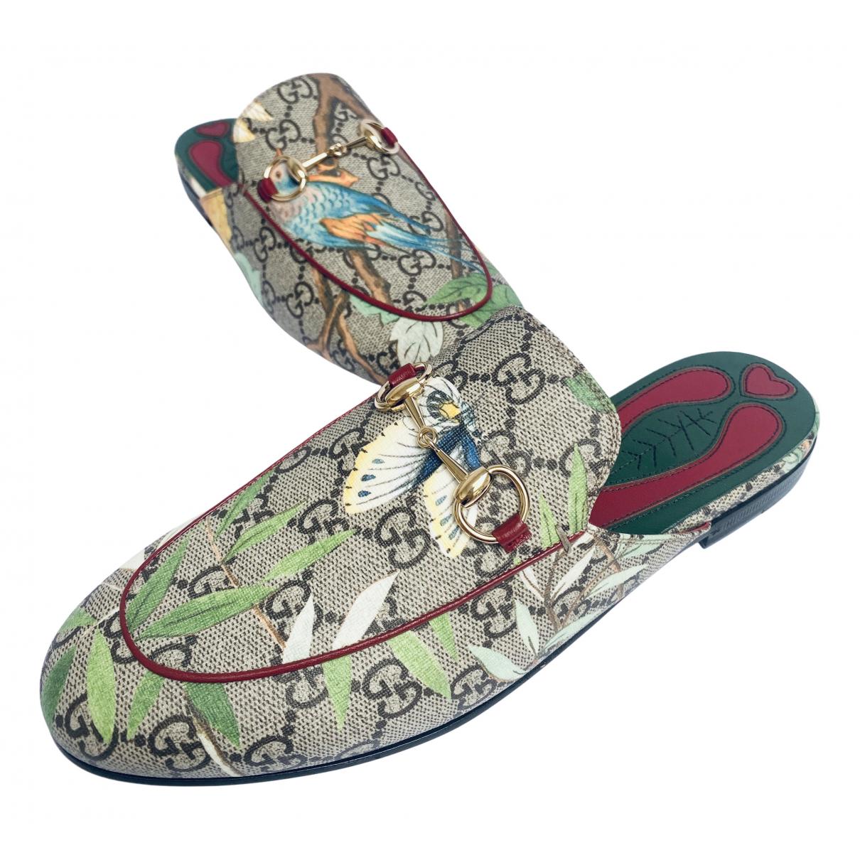 Gucci Princetown Beige Cloth Flats for Women 37.5 EU
