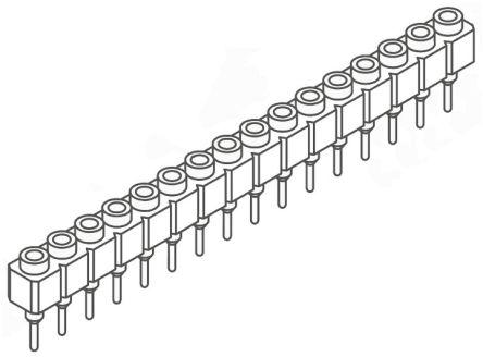 Samtec , SS 2.54mm Pitch 16 Way 1 Row Straight PCB Socket, Through Hole, Solder Termination