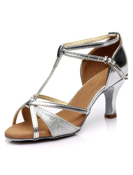 Milanoo Glitter Ballroom Shoes Black Open Toe T Type Ankle Strap Latin Dance Shoes