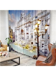 Gorgeous Palace and Vintage Architecture Pattern 3D Polyester Curtain