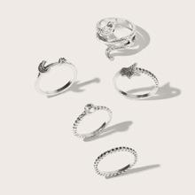 5pcs Rhinestone Snake Ring