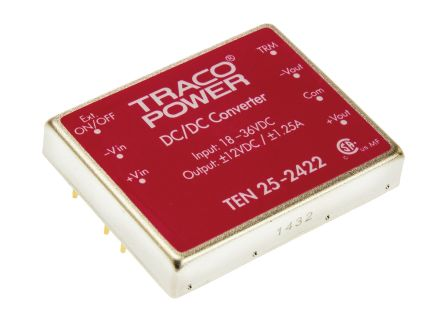 TRACOPOWER TEN 25 25 W, 30 W Isolated DC-DC Converter Through Hole, Voltage in 18 → 36 V dc, Voltage out ±12V dc