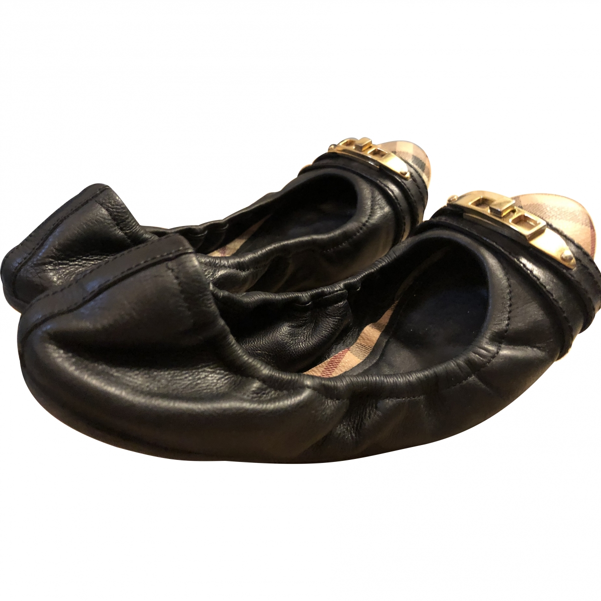 Burberry \N Black Leather Ballet flats for Women 36 EU