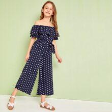 Girls Off Shoulder Foldover Wide Leg Polka Dot Jumpsuit