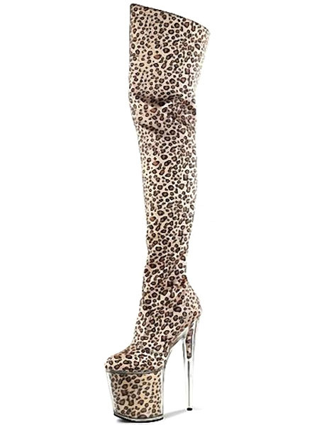 Milanoo Leopardo de impresion botas Sky alta plataforma Suede tacones para las mujeres
