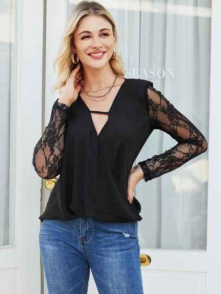 YOINS Black Hollow Design Patchwork V-neck Long Sleeves Blouse