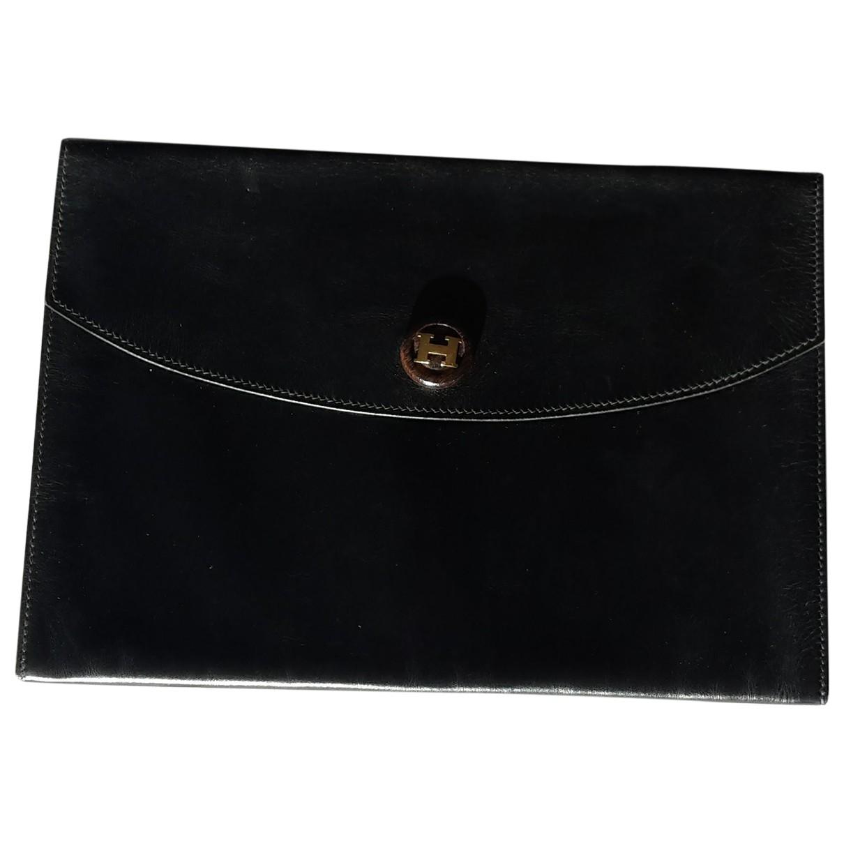 Hermes - Pochette Rio pour femme en cuir - noir