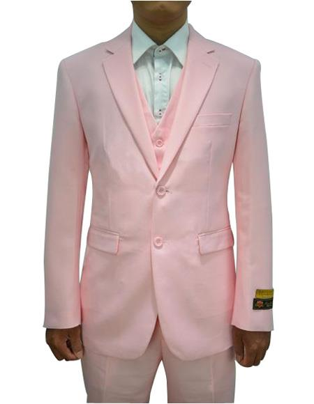 Alberto Nardoni Mens Vested 3 Piece Suit Pink