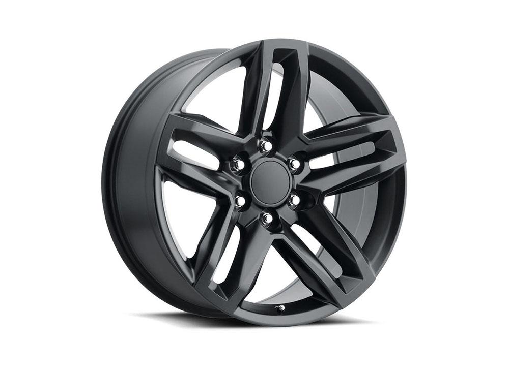 Factory Reproduction Z71 Wheels Split 5 20X9 6X5.5 +15 Satin Black w/ Cap FR Series 94