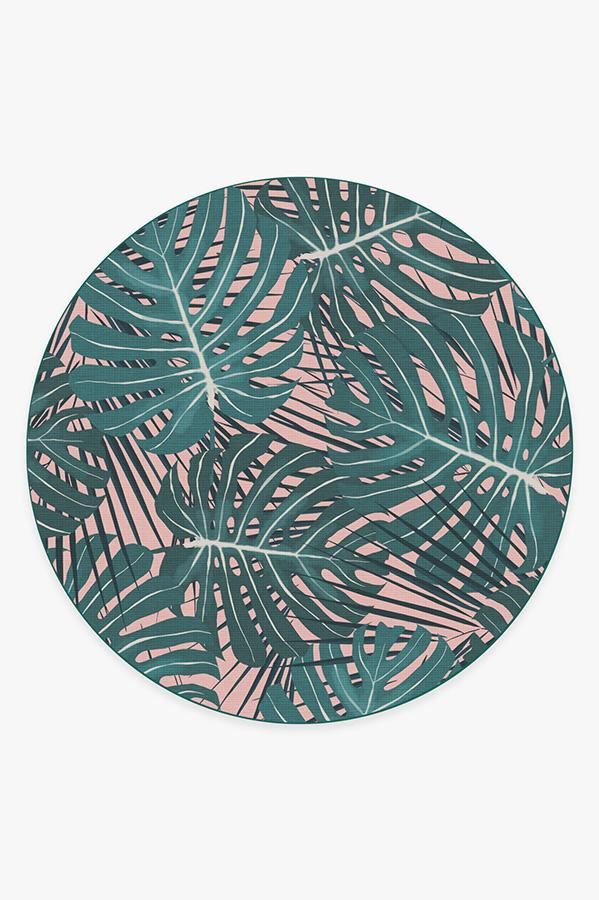 Washable Rug Cover   Monstera Miami Rug   Stain-Resistant   Ruggable   8 Round