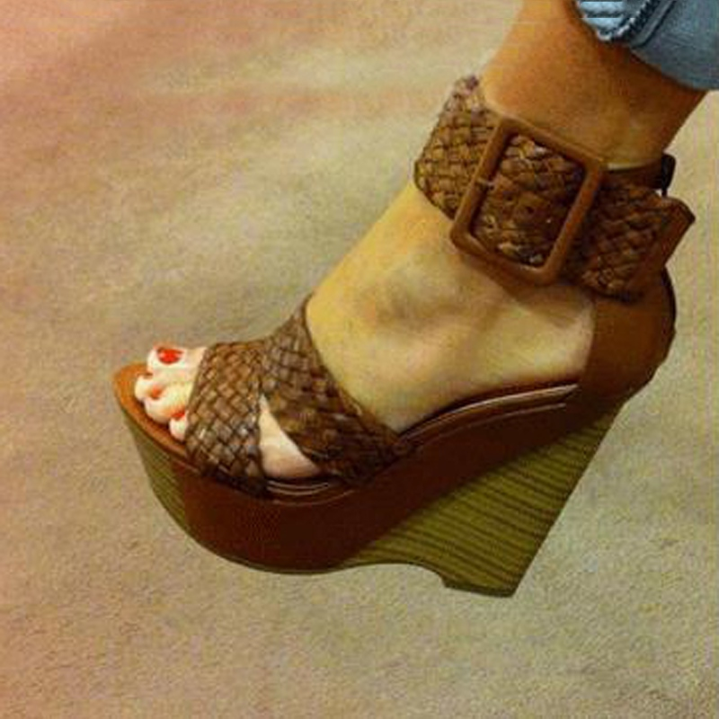 Comfortable Wedge Heel Ankle Strap Buckle High Heel Sandals